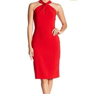 Red twist kneck crepe halter dress
